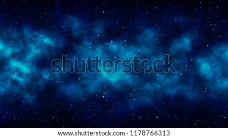 Night starry sky, blue space background with bright stars, nebula