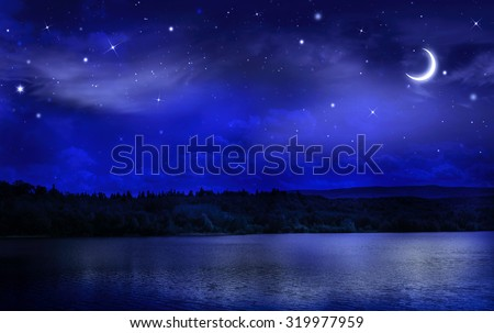 Night starry sky over the forest and the river #319977959