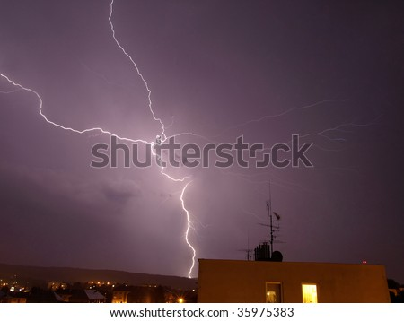 Night storm with lightning striking the ground