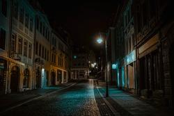 Night street of European city High quality photo