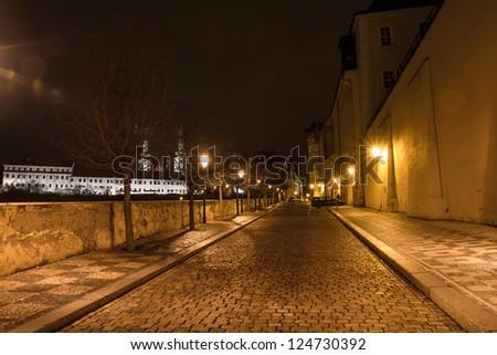 night street view of old town of prague