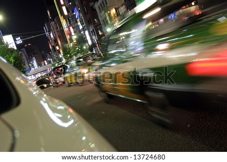 Night streets of Tokyo night life, motion blur