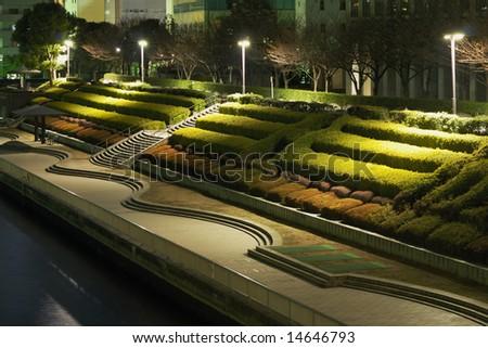 night terrace gardens in Tokyo city, Japan
