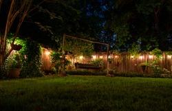 night time beautiful backyard scene.