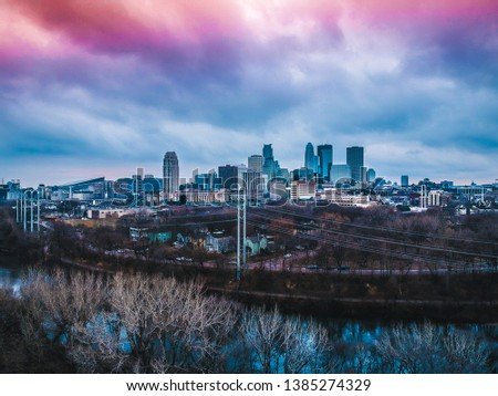 Night time cityscapes of Minneapolis Minnesota