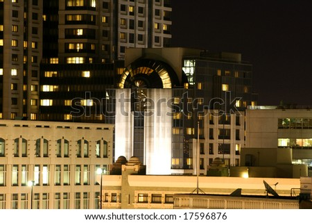 Night time. Downtown in San Francisco. Modern buildings.