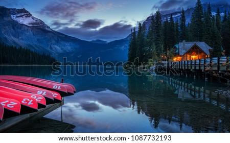 Night time Emerald Lake Lodge in Yoho National Park Сток-фото ©