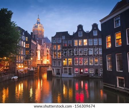 Night time illuminations of the stunning neo-Renaissance St Nicholas Church (1842) in the heart of Amsterdam.