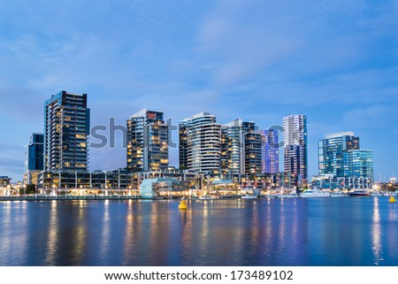 Night time image of apartment buildings in the Docklands area of Melbourne, Australia