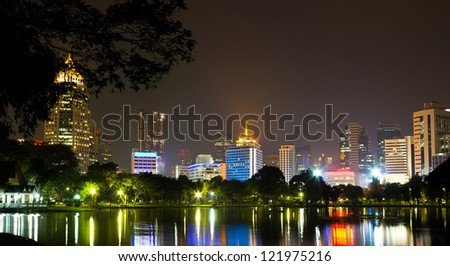 Night time in Bangkok with building