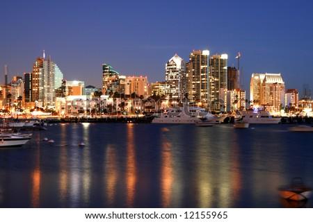 night time in san diego ca skyline stock photo 12155965 shutterstock. Black Bedroom Furniture Sets. Home Design Ideas