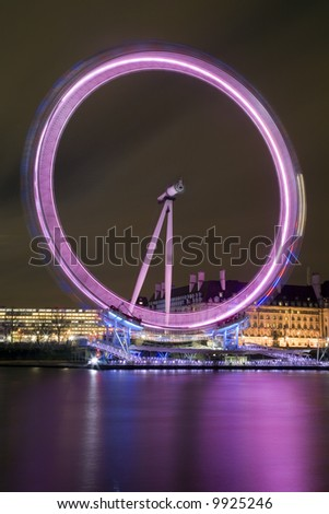Night-time long exposure photograph of the London Eye (Millennium Wheel)