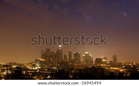 Night time panorama of downtown Los Angeles
