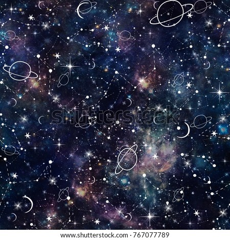 Night Time Planet and Star Constellation Galaxy Print  Seamless Pattern in Repeat