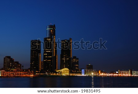 Night time skyline of Detroit, Michigan