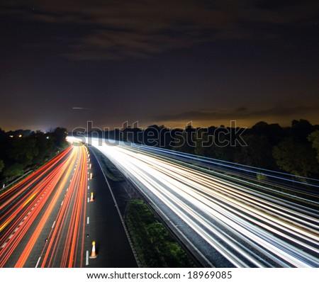 Night time traffic motion blur