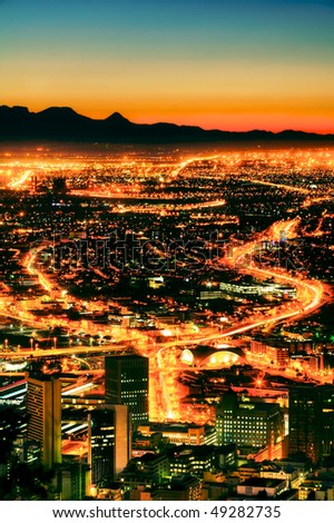 Night time view of Cape Town from Signal Hill.
