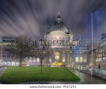 Night-time view of the Methodist Central Hall church in Westminster, London