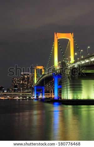Night Tokyo landmarks,Tokyo Rainbow bridge in Japan
