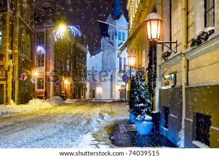 Night town. Riga, Latvia