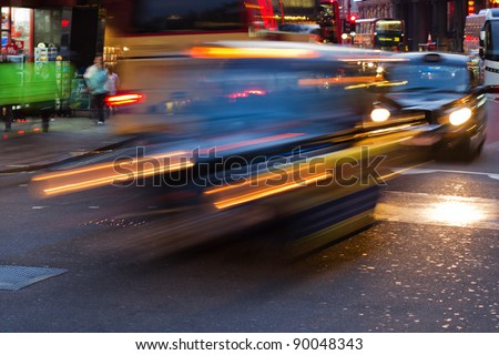 night traffic in London City with longtime exposure