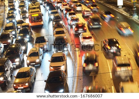 Night traffic jam in Moscow