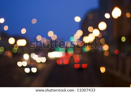 Night traffic lights on a street city