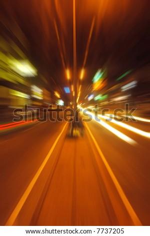 Night traffic lights on a street city - stock photo
