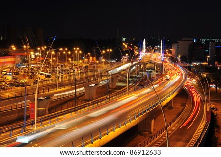 Night traffic on Basarab bridge, Bucharest, Romania