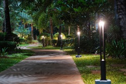 Night tropical garden with lanterns.