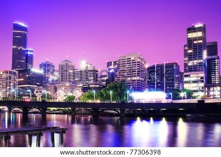 Night Urban City Skyline. Melbourne. Australia - stock photo