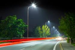 night urban road at night wit modern LED street lights