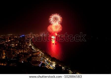 Night view and firework at Pattaya city, Thailand