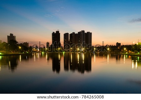 Shutterstock Night view and reflection of buildings in the lake of the park of Nations, City of Campo Grande, Brazil