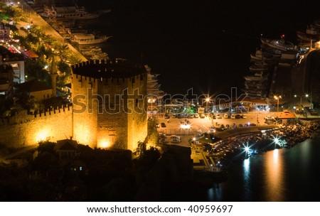Night view at the Alanya, Turkey