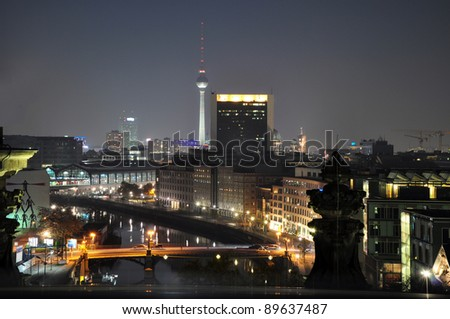 Night view from the roof of the Reichstag, Berlin - Germany