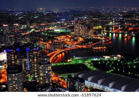 Night view from Yokohama landmark showing the Yokohama Bay and Tokyo city at the far end/ Yokohama Bay/Yokohama Bay