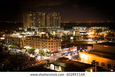 Night view in downtown Miami,Florida
