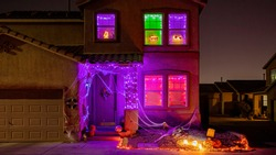 Night view of a beautiful Halloween decoration house at Las Vegas, Nevada