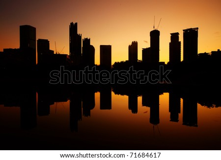 Night view of a city with reflection in water. Kuala Lumpur. Malaysia
