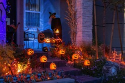 Night view of a house with halloween decoration at Las Vegas