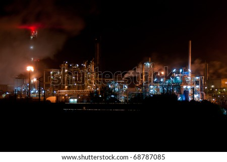 Night view of a industrial park.