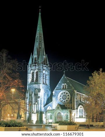 Night view of a traditional cathedral, New Zealand