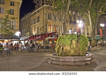 Night view of Aix-en-Provence, south of France