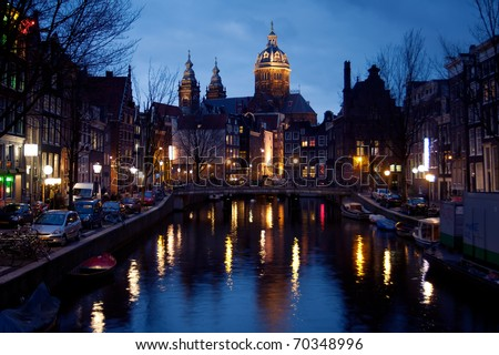 Night view of Amsterdam from Red Light District,Netherlands
