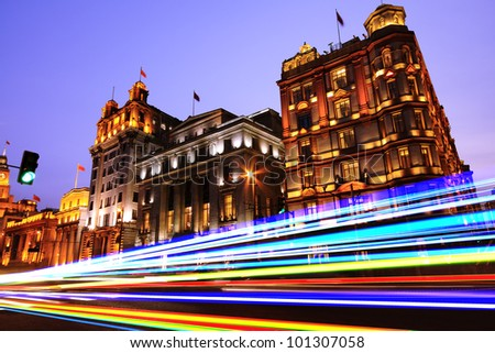 Night view of ancient century European-style buildings on the Bund in Shanghai