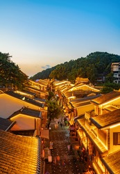 Night view of ancient town streets in Chongqing, China