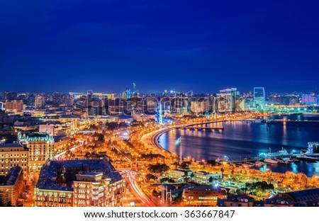 Night view of Baku, Azerbaijan