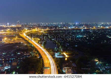 night view of Bangkok and night life entertainment. #641527084