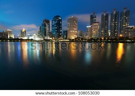 Night view of Bangkok from lake Ratchada #108053030